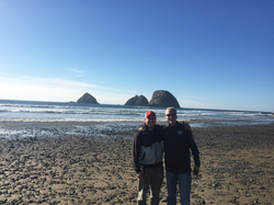 Casey and his Dad at the coast