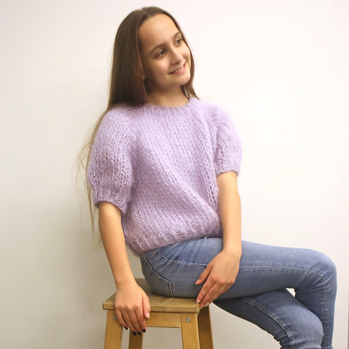 Renee cropped top with short puff sleeves - Teens collection - lilac