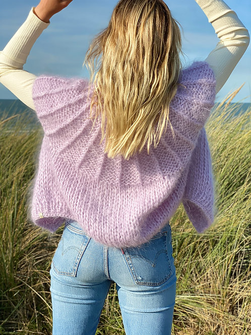 Hana Cropped Cardigan with capped Sleeves - Lilac