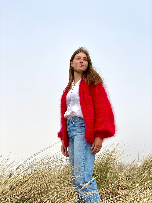 Camelia Cardigan - Red/fuchsia