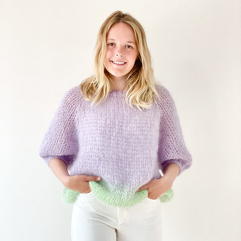 Renee top puff sleeves - Lilac/green