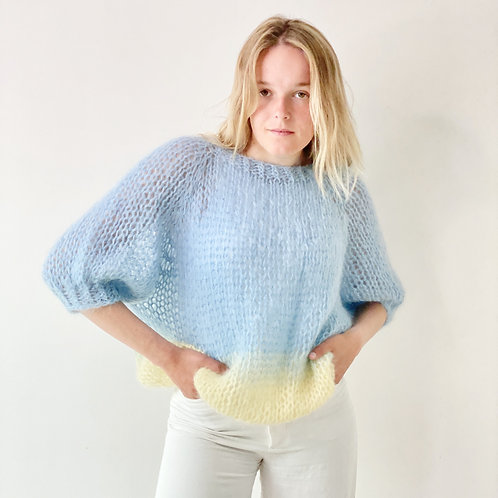 Renee top puff sleeves - Blue/yellow