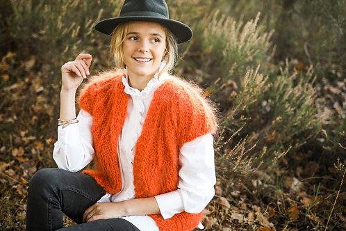 Hana Cropped Cardigan with capped Sleeves - Orange