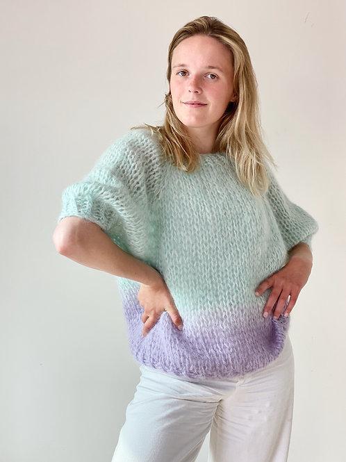 Renee top puff sleeves - Seafoam/lilac