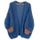 Thumbnail: Hand-knit blue mohair cardigan with pink sleeves
