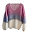 Thumbnail: Hand-knit ombre V-neck old rose, blue grey and gold