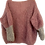 Thumbnail: Hand-knit pink/grey V-neck with light silver sparkle
