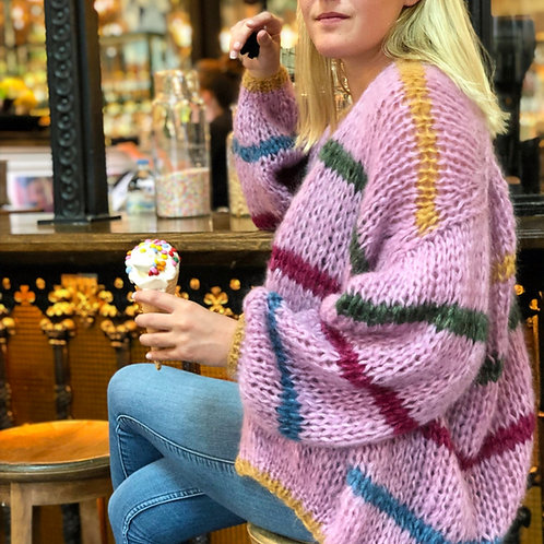 Hand-knit pink striped mohair cardigan