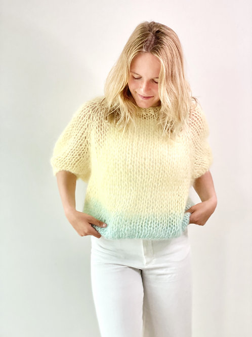 Renee top puff sleeves - Yellow/seafoam