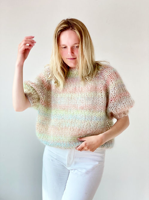 Renee cropped top with short puff sleeves multi-color