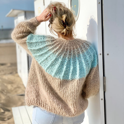 Beige mohair/alpaca cardigan with turquoise ombre