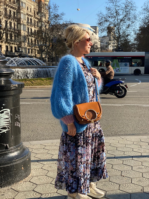 Hand-knit blue mohair cardigan with pink sleeves