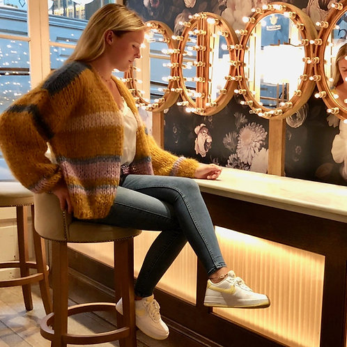 Hand-knit mustard mohair cardigan