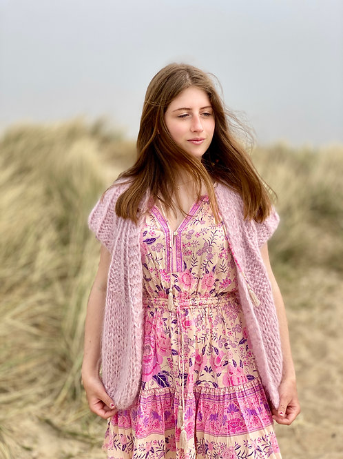 Hana Cropped Cardigan with capped Sleeves - old pink