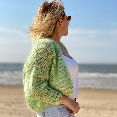 Hand-knit mohair cropped pistachio cardigan