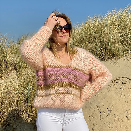 Hand-knit Peach mohair V-neck sweater