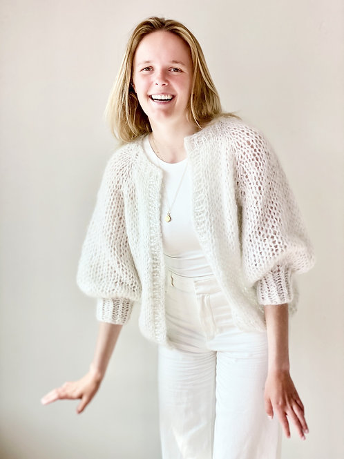 Paulette cardigan - White with a touch of silver