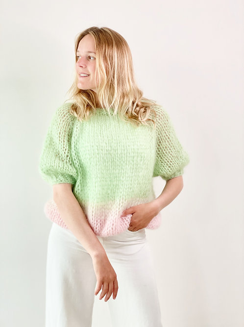 Renee top puff sleeves - Green/Pink