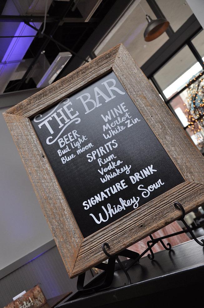 Customized wedding bar menu.