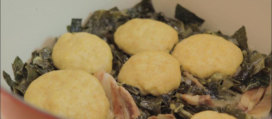 Collard Greens and Cornbread Dumplings!