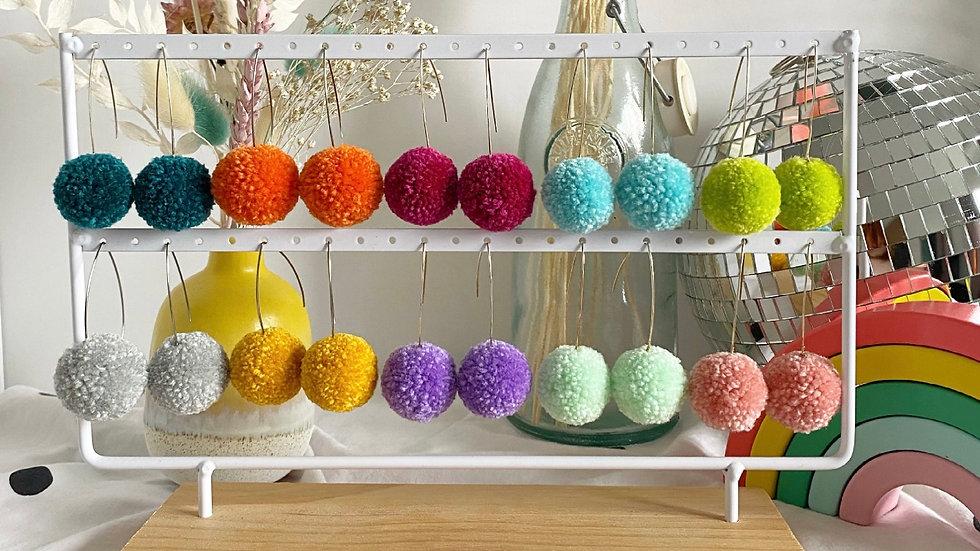 Single colour  pom earrings