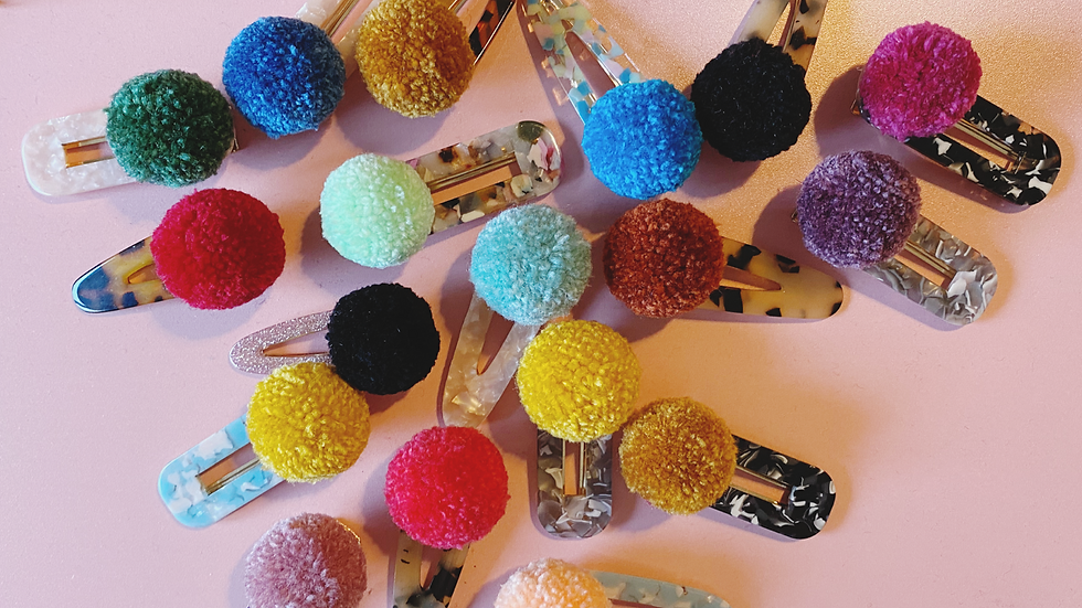 Resin and pom pom hair clip surprise pack