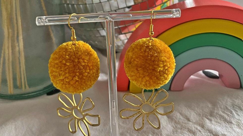 Mustard yellow pom pom earrings with brass flower charms