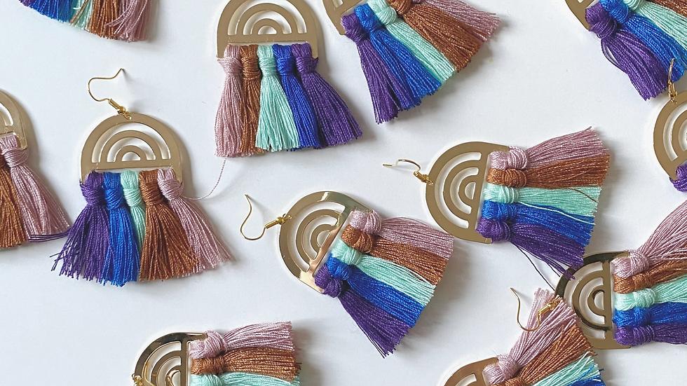 Rainbow tassel earrings on gold