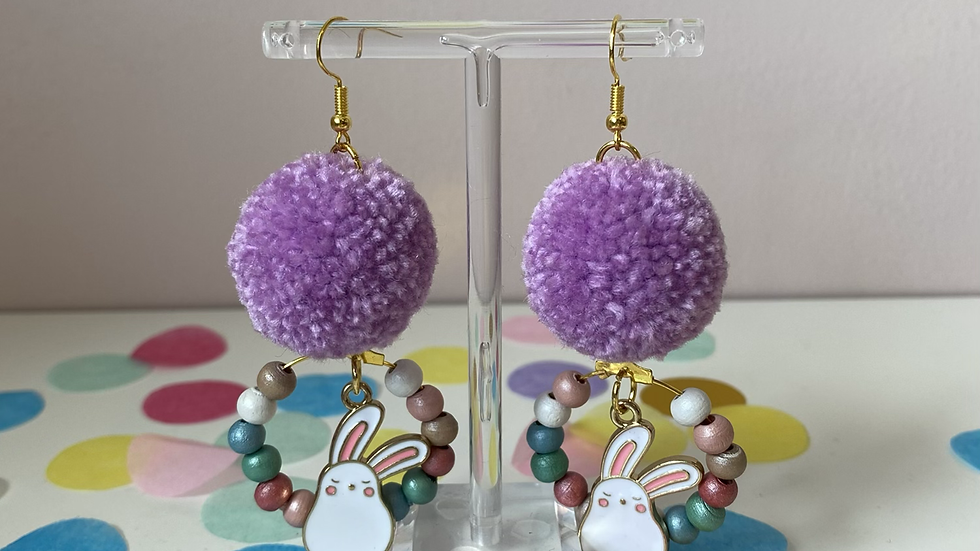Lilac poms with bunny charms and beaded wreaths