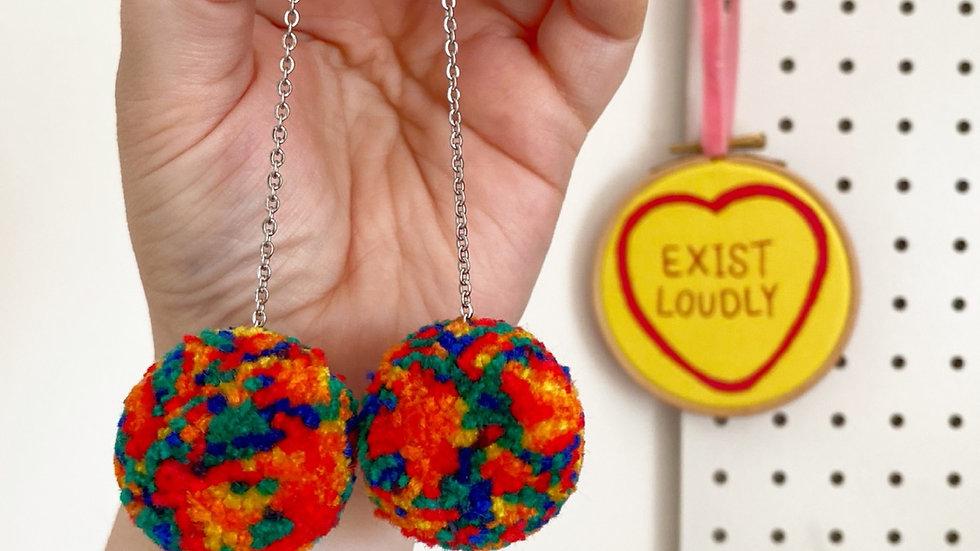 Rainbow tie dye pom pom earrings