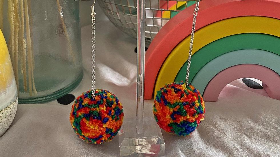 Rainbow tie dye pom pom dangle earrings