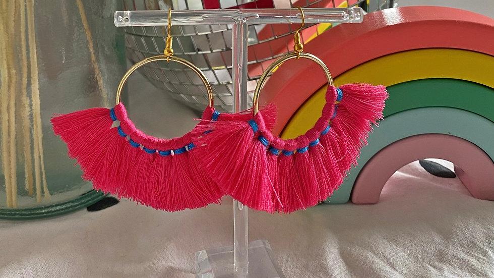 Bright pink tassel earrings