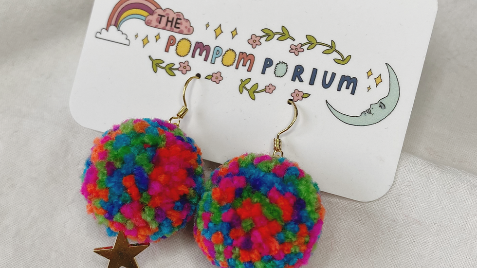 Neon confetti poms with star charms