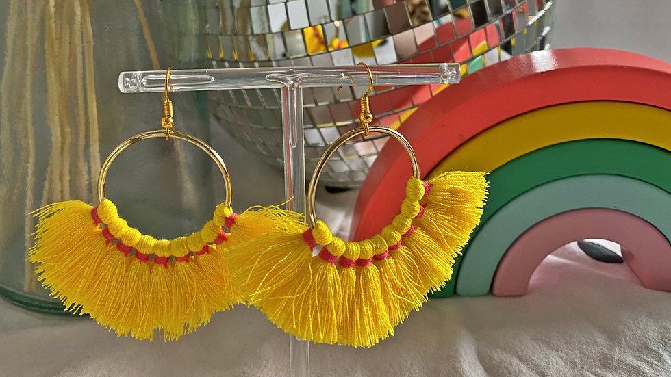 Bright yellow tassel earrings