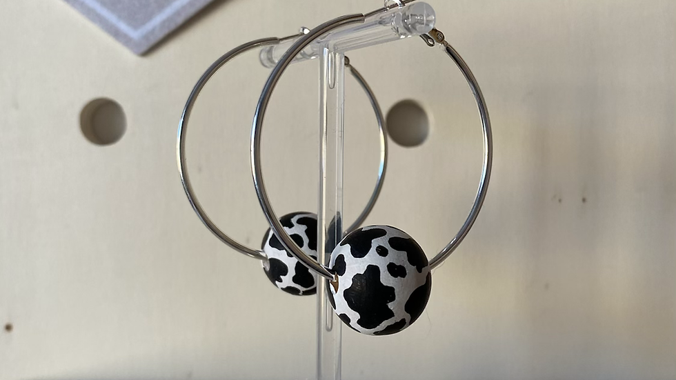 Handpainted cow print wooden bead earrings