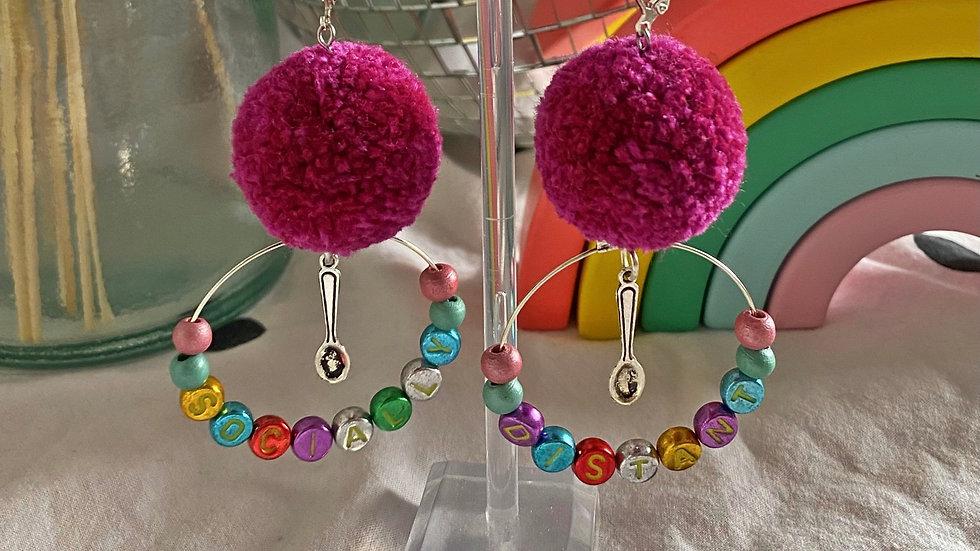 Raspberry pom pom earrings with spoonie charms & 'socially distanced' beads