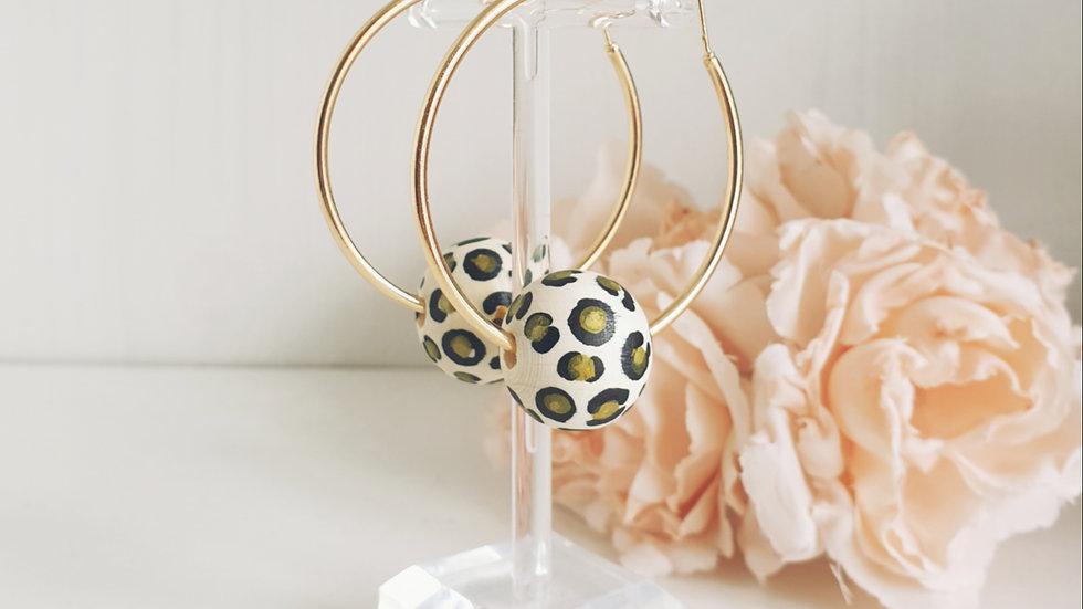 Hand painted leopard print wooden bead earrings