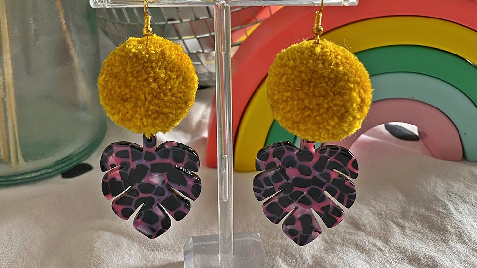 Mustard yellow pom poms with XL monstera charms