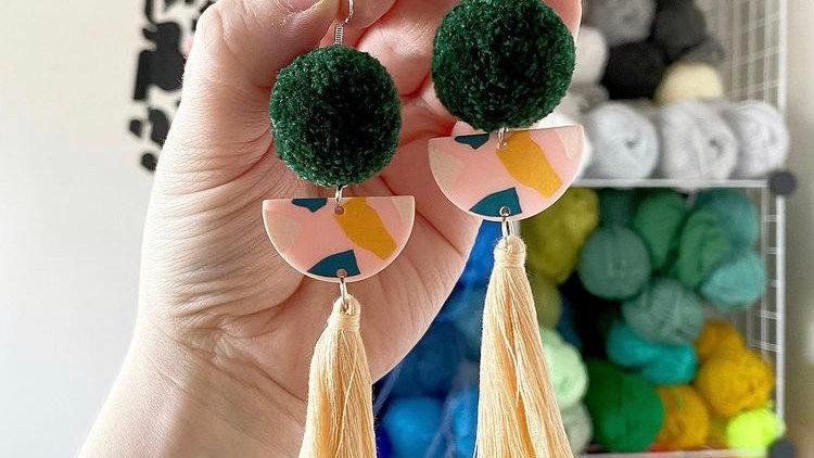 Pom pom, acrylic half moon & tassel earrings