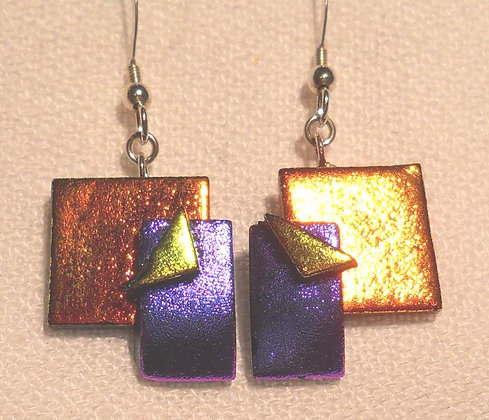 Orange, Purple, and Yellow Tac Earrings