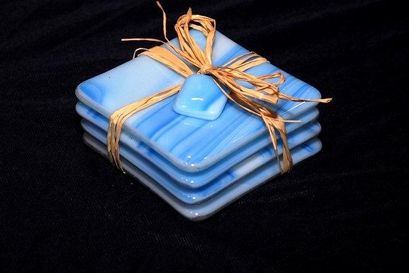Light Blue Swirl Coasters