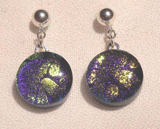 Purple-Golden Circle Earrings