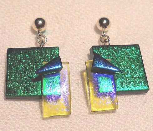Green, Salmon and Teal Earrings