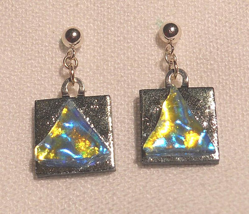 Silver Square with Triangle Earrings