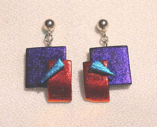 Purple, Red and Turquiose Earrings