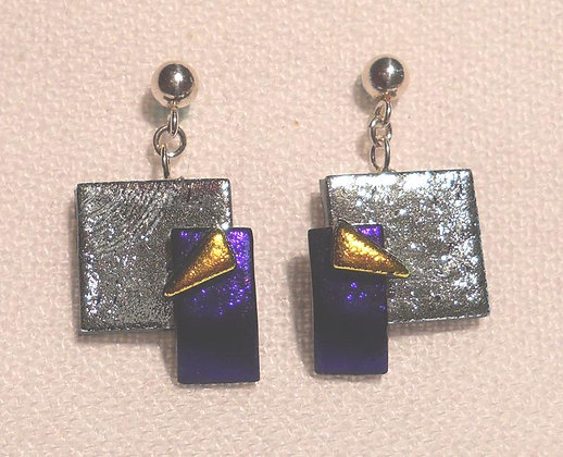 Purple, Silver, and Yellow Earrings