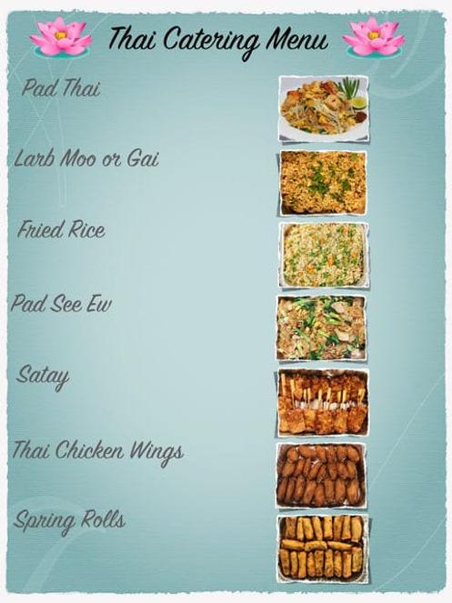 Boat Catering service menu