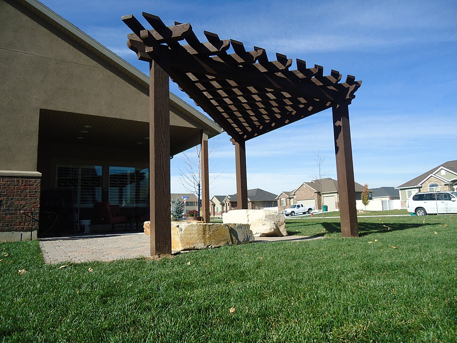 Wright Timberframe - Pergola Gallery on Triangle Shaped Backyard Design id=70846