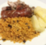 Rice and beans with pork and potatoes