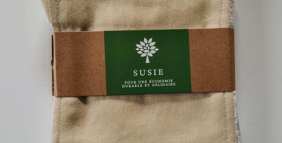 carrés bifaces lavables 100% coton bio Susie